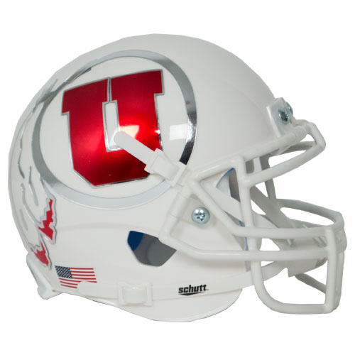 Image For Mini Utah Utes White Chrome Athletic Logo Helmet