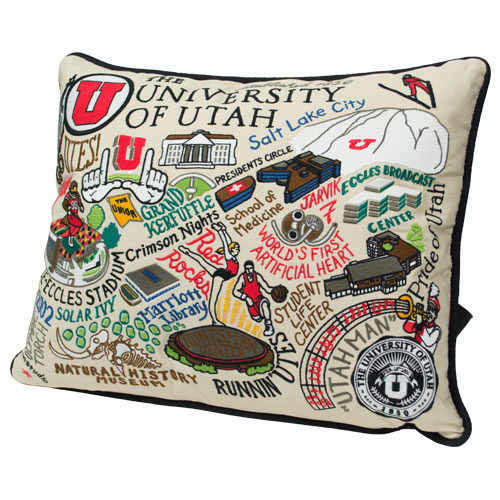 Image For The University of Utah Embroidered Collage Pillow