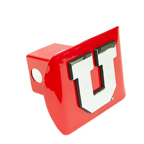 Image For Red and Silver Metal Block U Hitch Cover