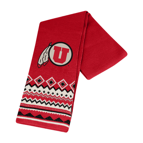 Cover Image For Utah Athletic Logo Patterned Winter Scarf