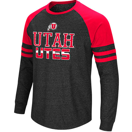 Image For Colosseum Athletic Logo Utah Utes Striped long Sleeve Tee