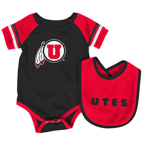 Image For Colosseum Utes Athletic Logo Bib and Onesie Set