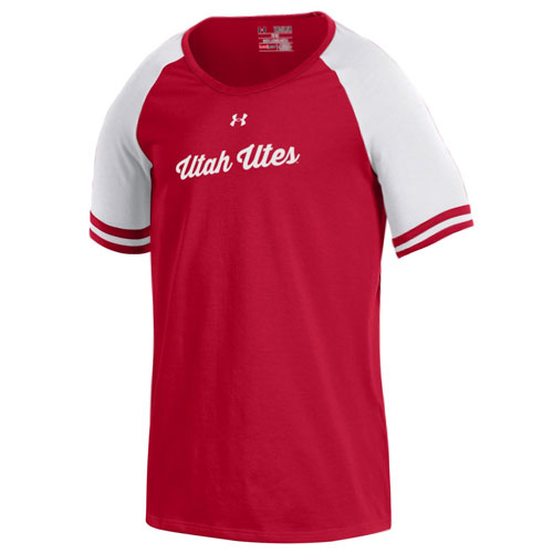 Image For Under Armour Utah Utes Baseball Styled Girls T-Shirt