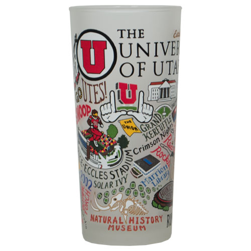 Cover Image For University of Utah Utes Collage Frosted Drinking Glass
