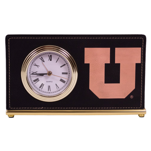 Image For Laramie Block U Black Leather Desk Clock