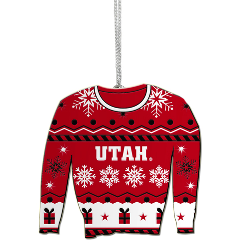 Cover Image For Utah Utes Ugly Holiday Sweater Ornament
