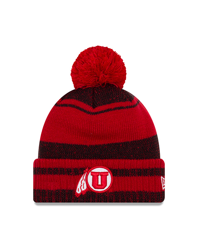 Image For NewEra Red Black Striped Pom Pom Beanie with Athletic Logo
