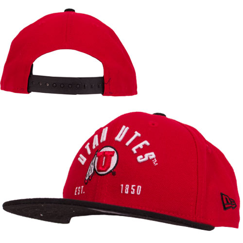 Image For New Era Red Black Utah Utes Adjustable Youth Hat
