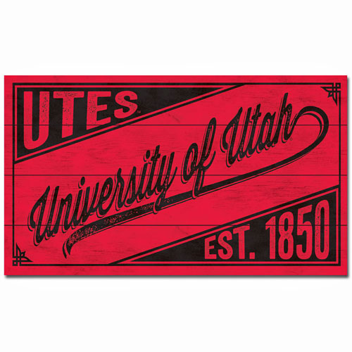 Image For University of Utah Script Wood Sign