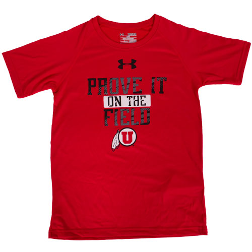 Image For Under Armour Youth Prove it on the Field red T-shirt