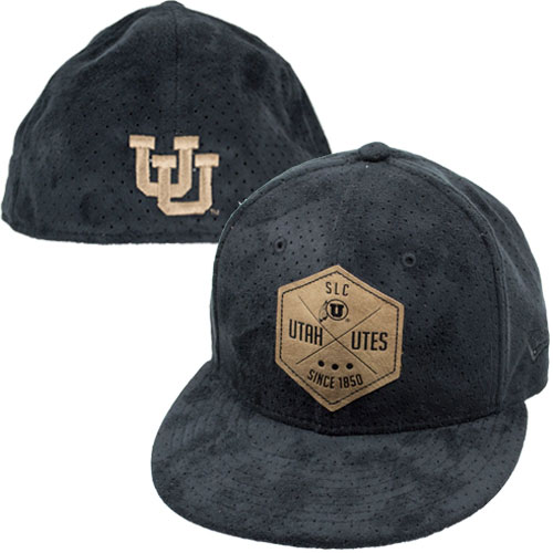 Image For New Era Black Utah Utes Suede Patch Flat Brim Hat