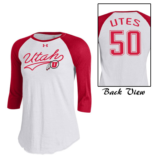 Cover Image For Under Armour Cursive Utah Athletic logo Women Long sleeve