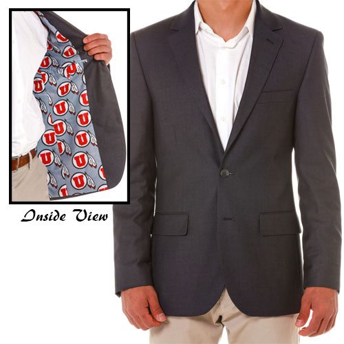 Image For 2-Button Single-Breasted Athletic Logo Lined Blazer