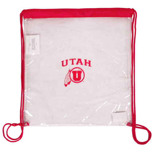 Image For Utah Athletic Logo Clear Plastic Drawstring Pack
