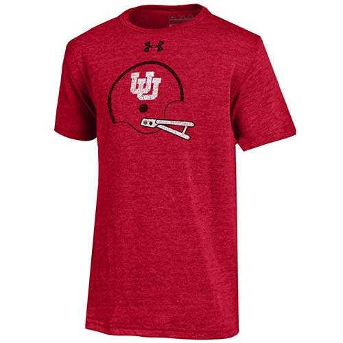 Cover Image For Under Armour Interlocked U Football Helmet Youth T-Shirt