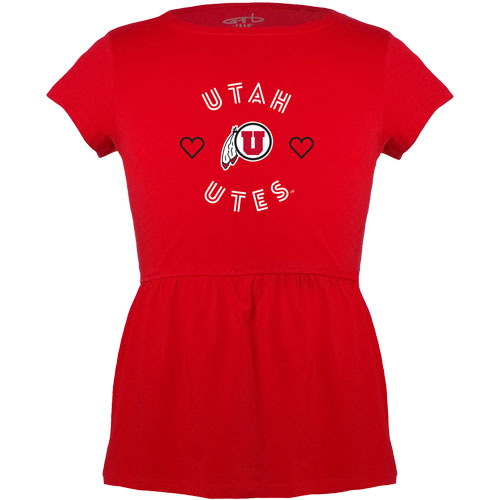Image For Utah Utes Athletic Logo Toddler Peplum T-shirt
