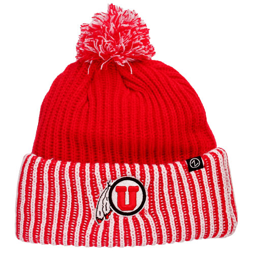 Cover Image For Zephyr Athletic Logo Red White Striped Knitted Beanie
