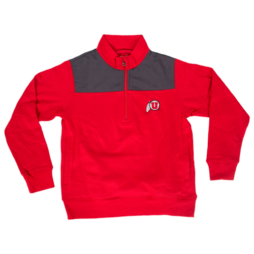 Image For Youth Red Athletic Logo Quarter Zip Pullover