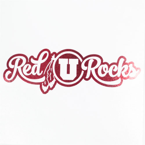 Image For Cursive Athletic Logo Red Rocks Vinyl Decal