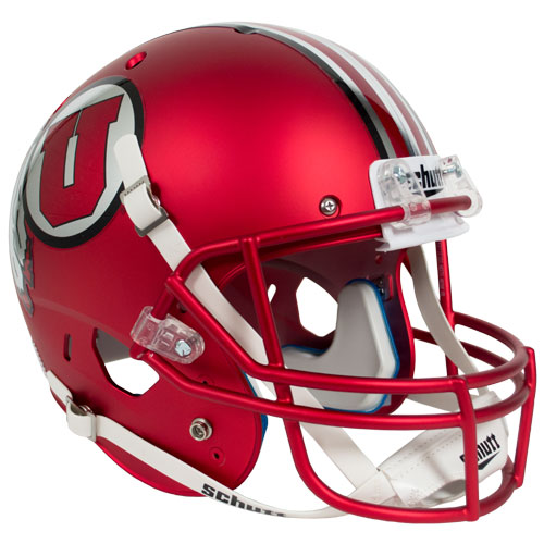 Image For Striped Matte Red Athletic Logo Replica Helmet