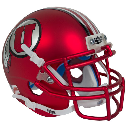 Image For Striped Matte Red Athletic Logo Mini Helmet