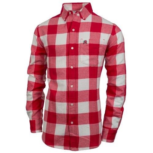 Cover Image For Paxton Men's Long Sleeve Athletic Logo Flannel Dress Shirt