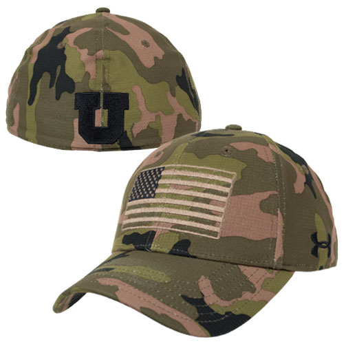 Cover Image For Under Armour Green Camo American Flag Hat 5ff0759f0cf
