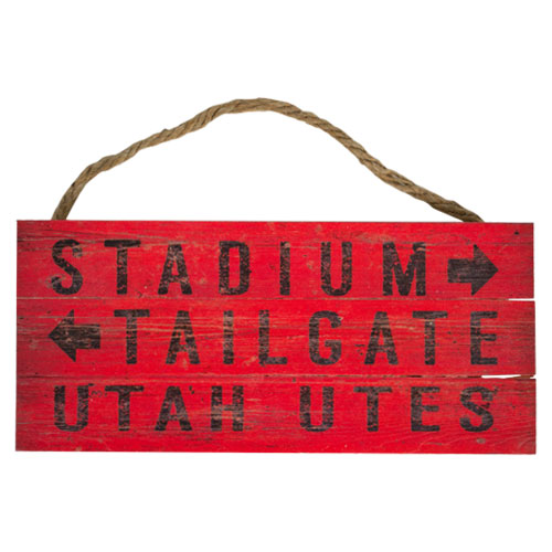 Image For Utah Utes Wood Plank Sign