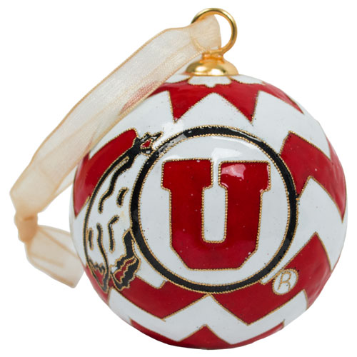 Image For Utah Utes Athletic Logo Chevron Hand Painted Ornament