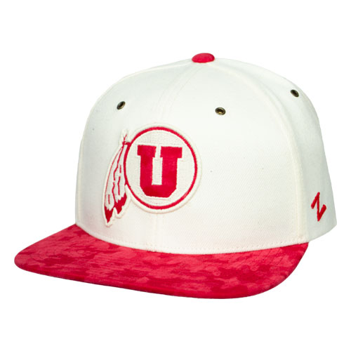 Cover Image For Utah Utes Athletic Logo Adjustable Cream Snapback Hat