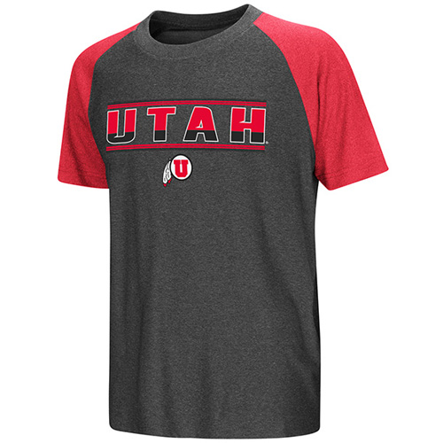 Image For Utah Utes Colosseum Athletic Logo Red and Gray Youth T-Shirt