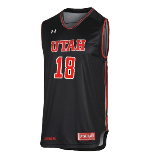 Cover Image For Utah Utes #18 Under Armour Black Basketball Jersey