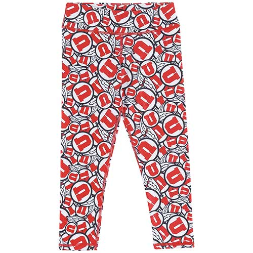 Image For Utah Utes Youth Athletic Logo Pattern Leggings