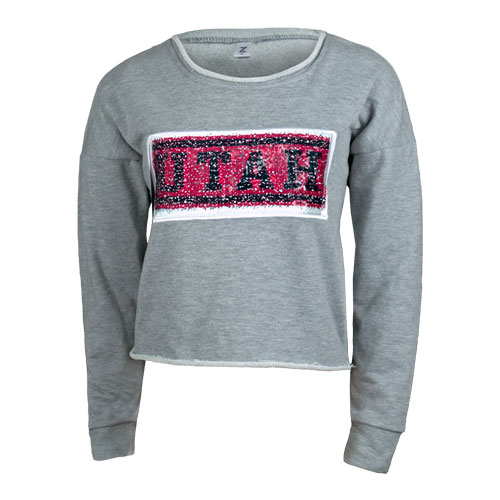 Image For Utah Utes Women's Sequin Crop Crew Neck Sweatshirt