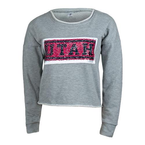 e2a90f81 Image For Utah Utes Women's Sequin Crop Crew Neck Sweatshirt