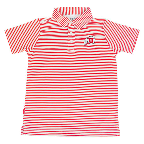 Image For Utah Utes Toddlers Athletic Logo Striped Polo
