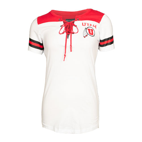 Image For Utah Utes Athletic Logo Women's Lace Up Tee