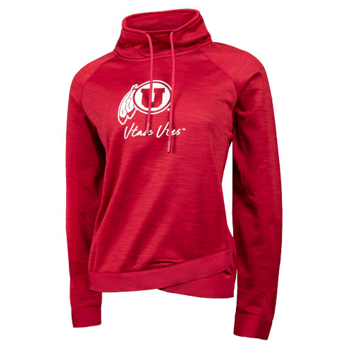Image For Utah Utes Athletic Logo Womens Funnel Neck Hoodie