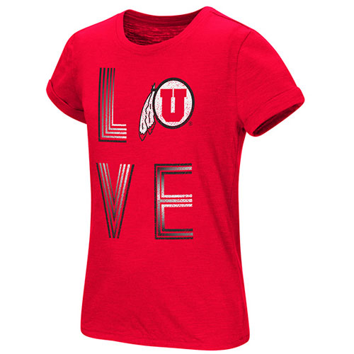 Cover Image For Colosseum Utah Utes Love Athletic Logo Girls Tee