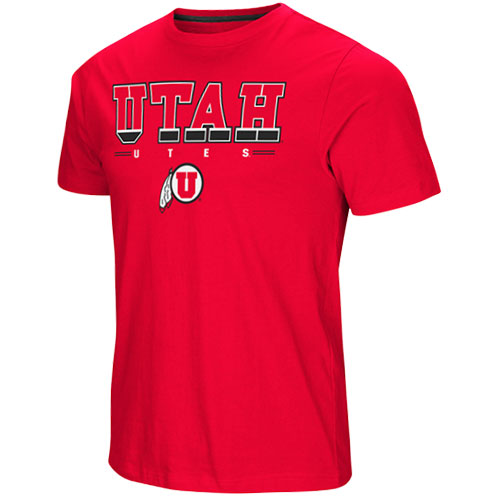 Cover Image For Utah Utes Athletic Logo Red Tackle Tee