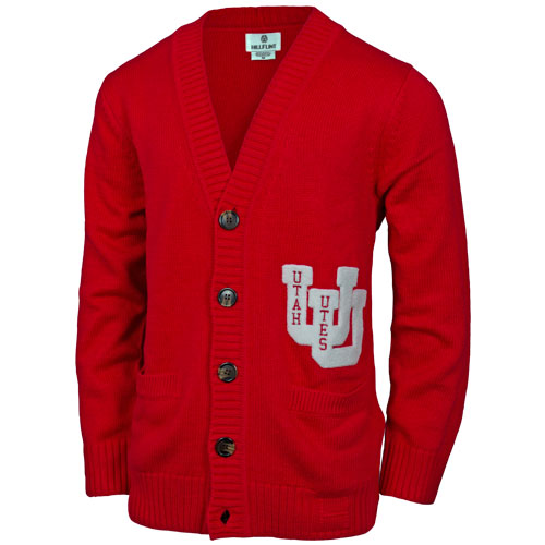 Image For Utah Utes Interlocking U Hillflint Chenille  Cardigan