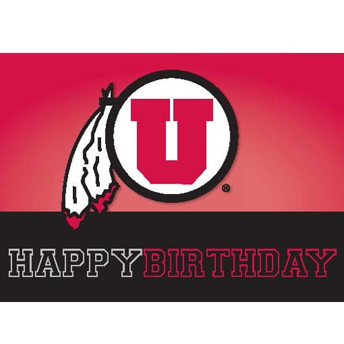 Image For Utah Utes Athletic Logo Happy Birthday Greeting Card