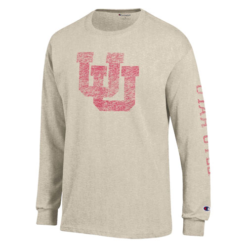 Cover Image For Utah Utes Distressed Interlocking U Champion Long Sleeve Tee