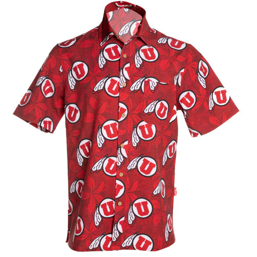 Image For Athletic Logo Hawaiian Print Short-Sleeve Button-Down