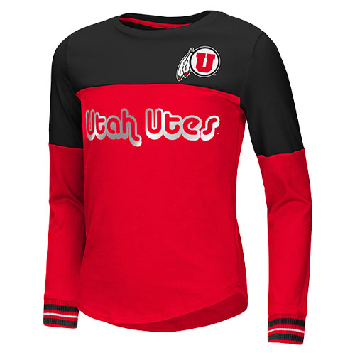 Image For Utah Utes Athletic Logo Foil Girls Long Sleeve Tee