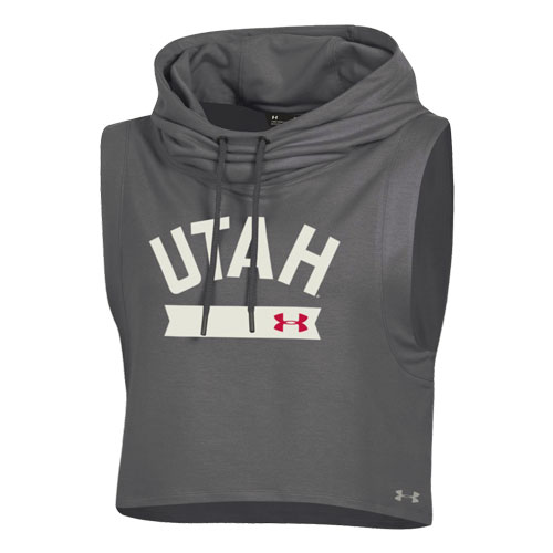 Image For Utah Utes Under Armour Crop Tank Hoodie