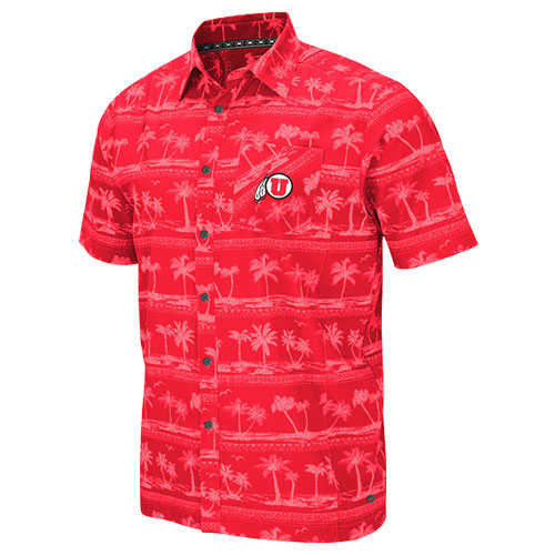 Image For Utah Utes Athletic Logo Tropical Button-Down Shirt