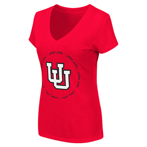 Image For Interlocking U Utah Utes Circle Womens V Neck Tee