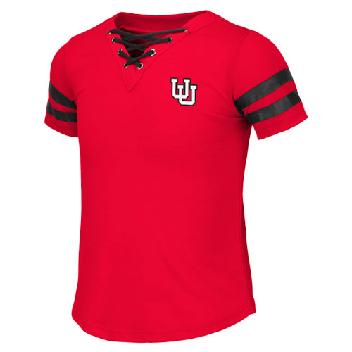 Image For Utah Utes Interlocking U Girls Lace Up Tee