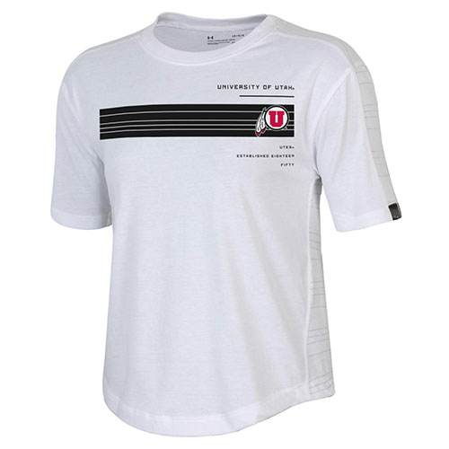Cover Image For Utah Utes Athletic Logo Stripes Women's Under Armour Tee